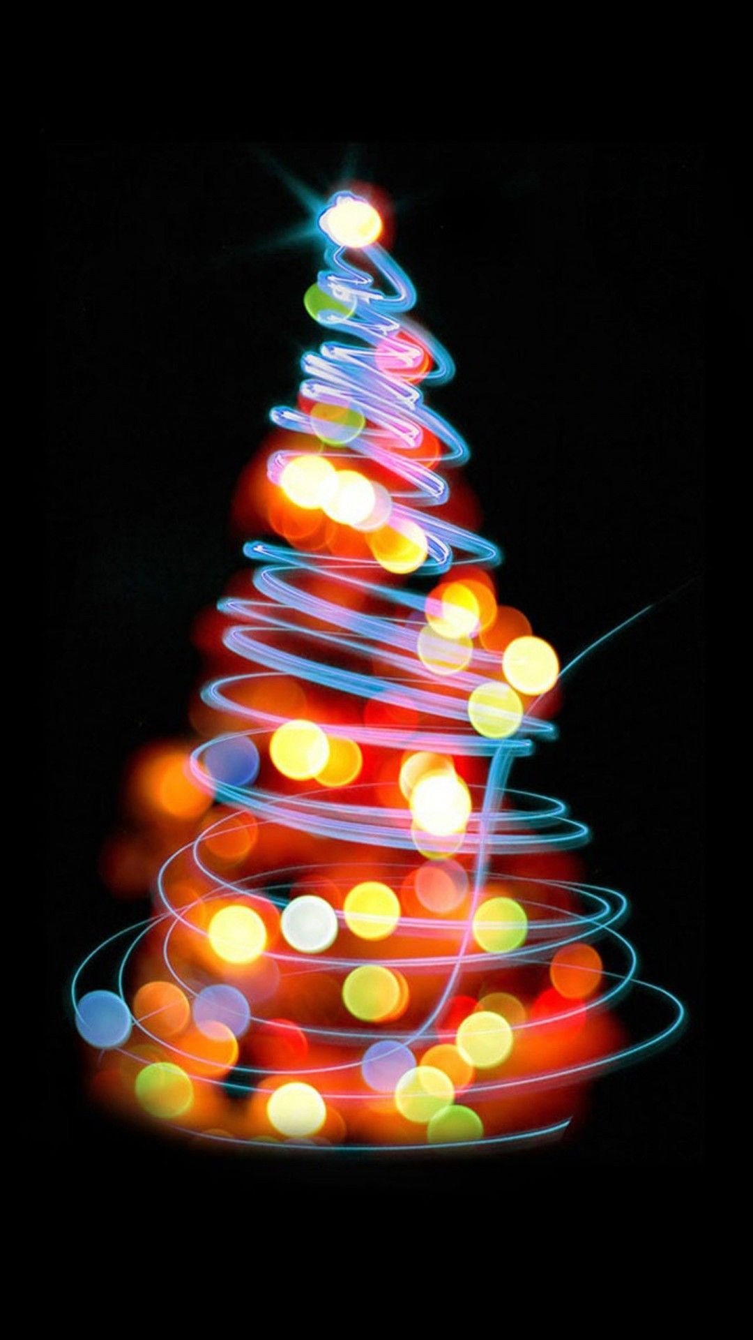 Merry Christmas Glowing HD Wallpaper for iPhone