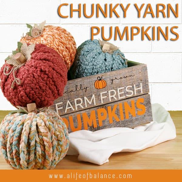 chunky yarn pumpkins wooden crate