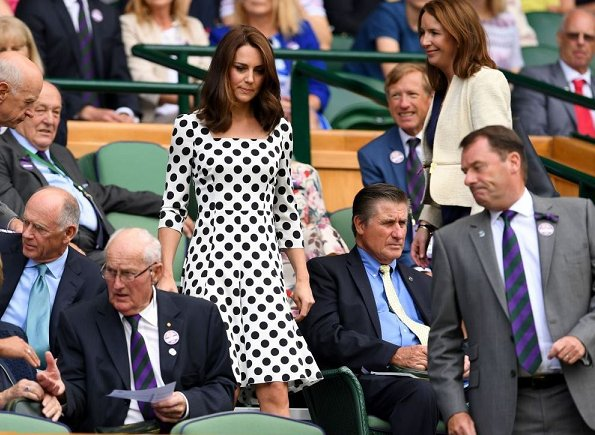 Kate Middleton wore DOLCE & GABBANA polka dot dress, Office Nina Block Heel Sandals and carried her Victoria Beckham Quincy bag