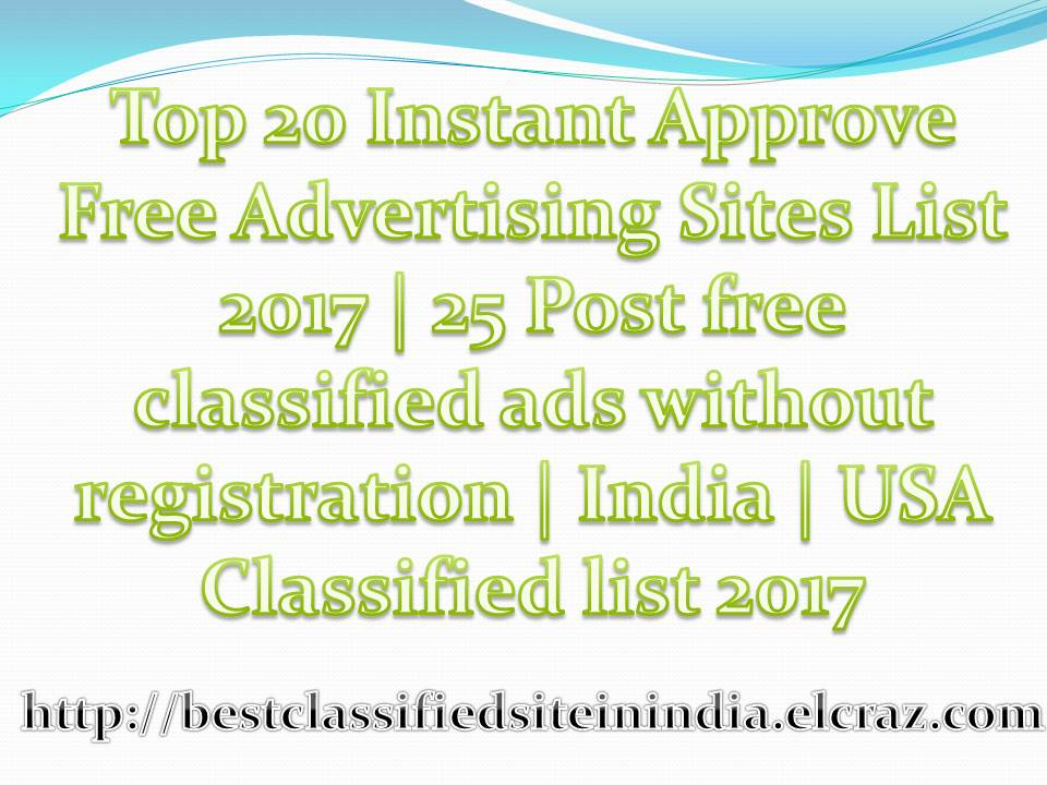 Top 20 Instant Approve Free Advertising Sites List 2018 | 25
