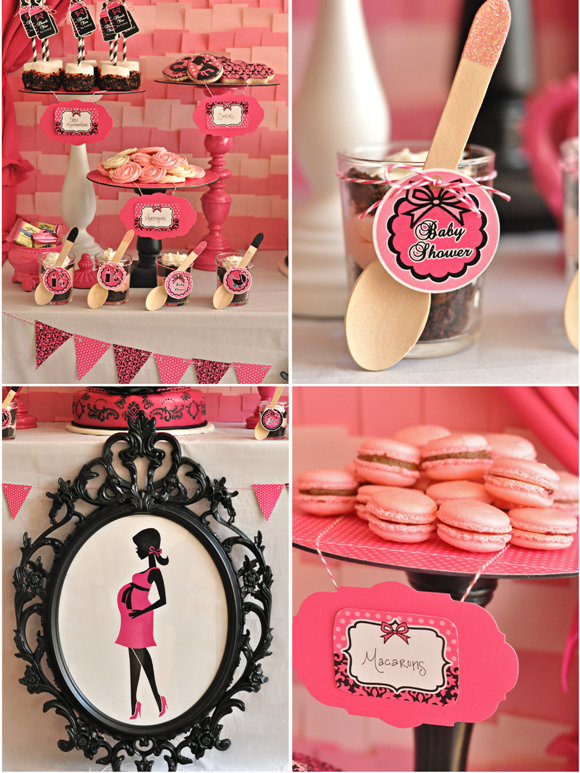 Pink Amp Black Glam Baby Shower With Printables Party