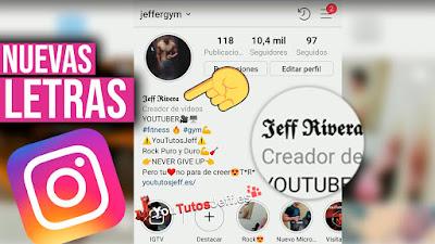 personalizar instagram, cambiar letra