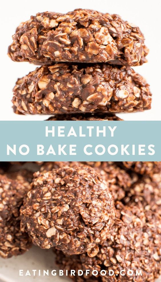 Peanut butter chocolate healthy no bake cookies made with half the amount of sugar in traditional no bake cookies and coconut oil instead of butter. Dairy-free, vegan and refined sugar free.