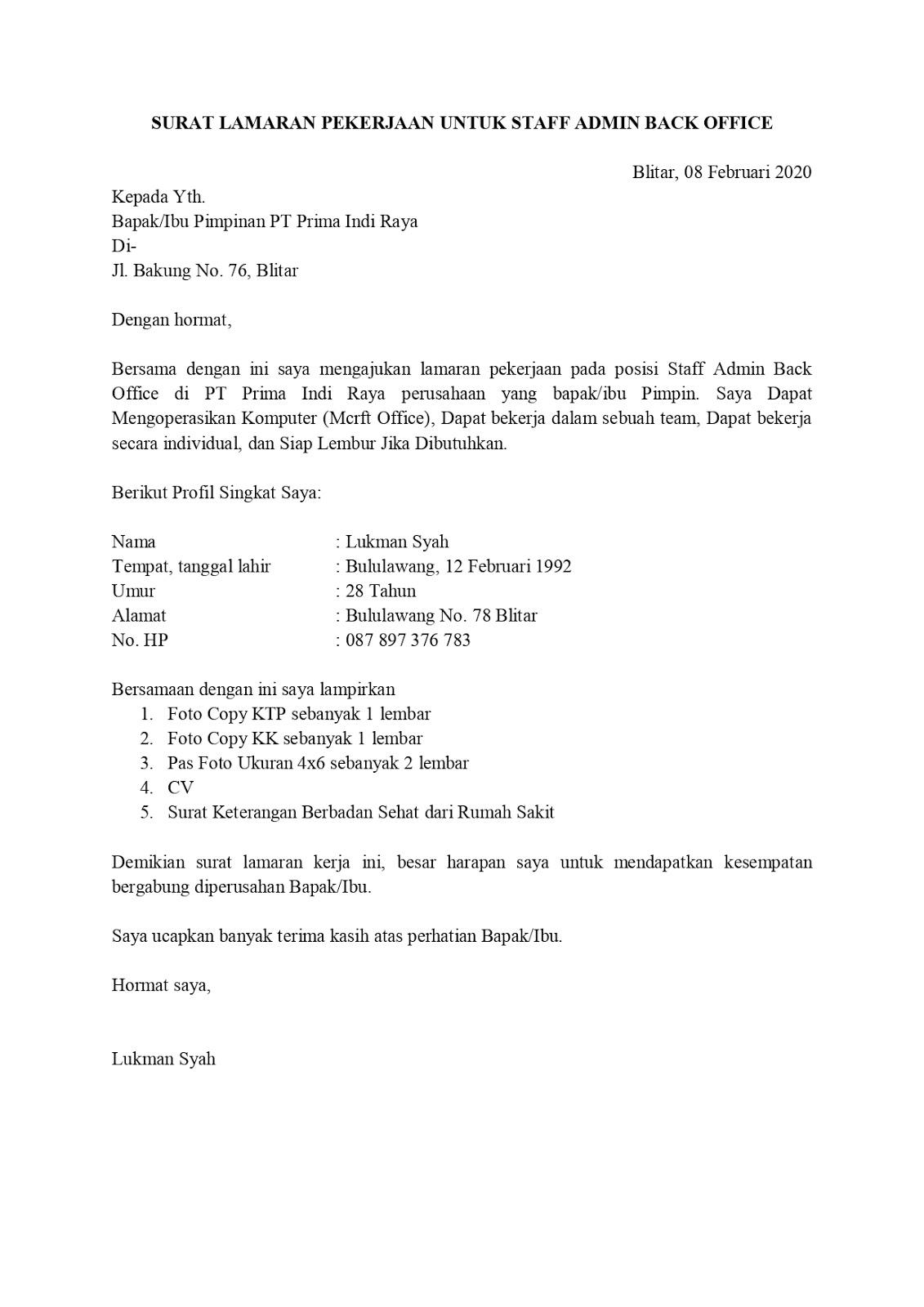 Contoh Surat Lamaran Pekerjaan Untuk Administrasi Dan Perkantoran Tanpa Koma