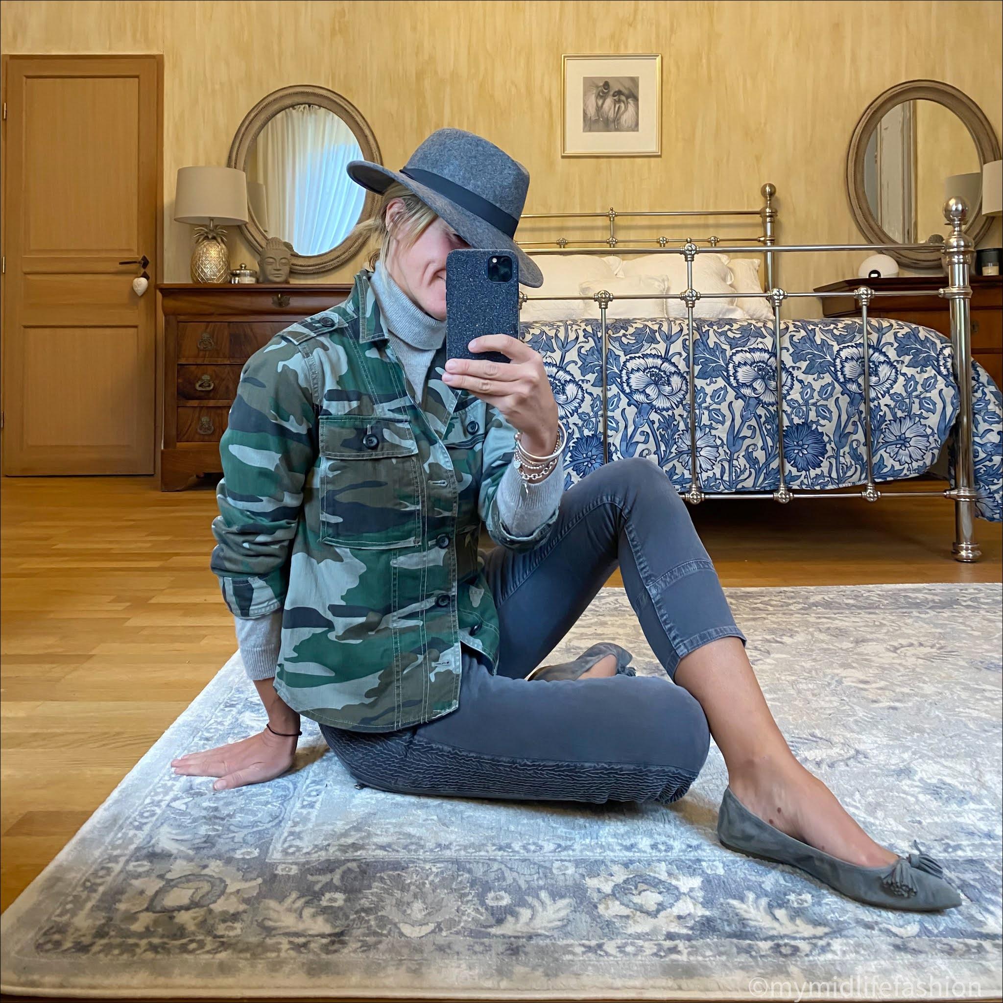 my midlife fashion, zara felt fedora hat, marks and Spencer pure cashmere roll neck jumper, j crew camouflage overshirt, Isabel Marant Etoile biker jeans, j crew suede tassel ballet flats