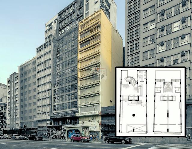edifício com kitnet para alugar