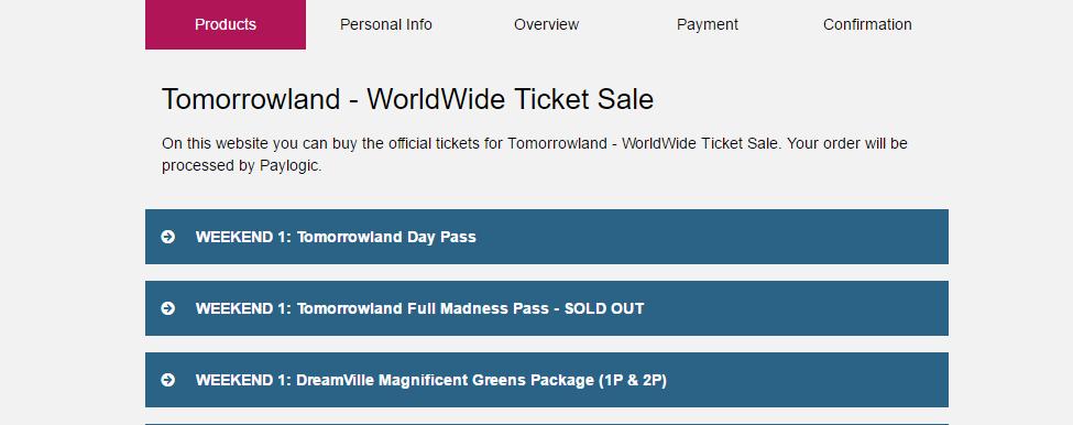 Explicación del proceso de compra de entradas para Tomorrowland