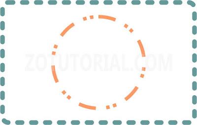 Contoh pola garis putus-putus (dotted line) dalam shapes