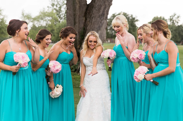 bride with bridesmaids at Fern Hill Golf Course