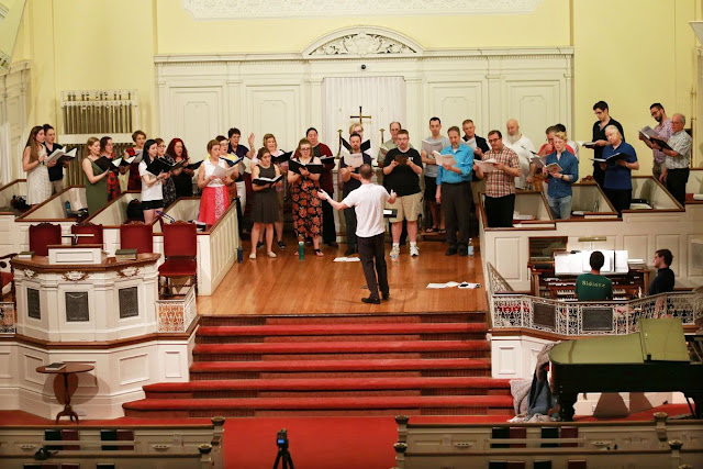 Voce and conductor Mark Singleton at the recording session for 'Blessing' on Signum Classics