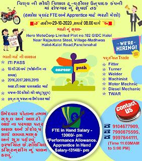 ITI Apprentice And Job Vacancy In Hero Motocorp World's Largest 2-Wheeler Company for Halol (Gujarat) Factory