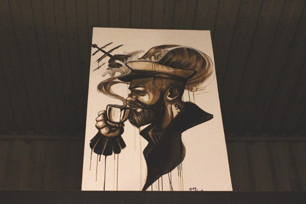 quadros pintados borra café