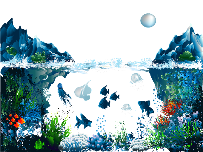ocean illustration, Underwater Illustration, Iceberg submarine beauty painted background, watercolor Painting, blue png by: pngkh.com
