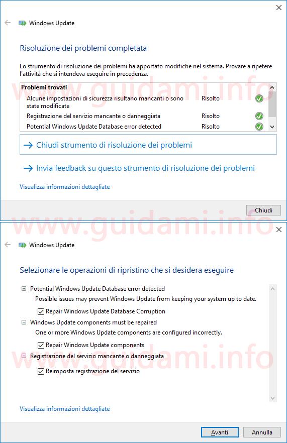 Strumento Microsoft riparazione errori Windows Update