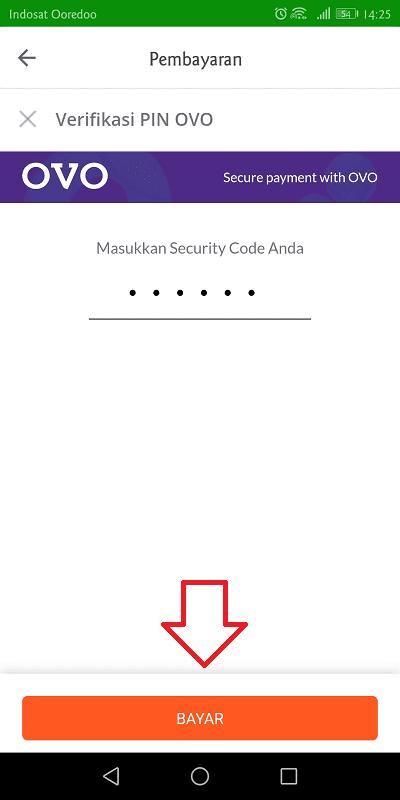 memasukkan pin ovo untuk keperluan verifikasi pembayaran di tokopedia