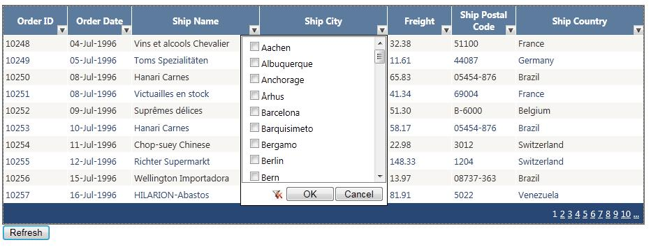 Filtering on each column in GridView as Excel Sheet functionality