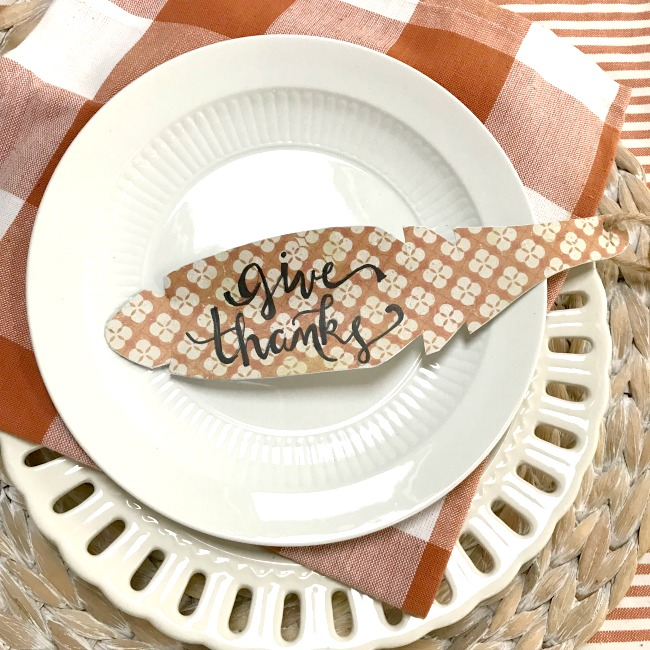 DIY Give Thanks DIY Metal Place Card Feather