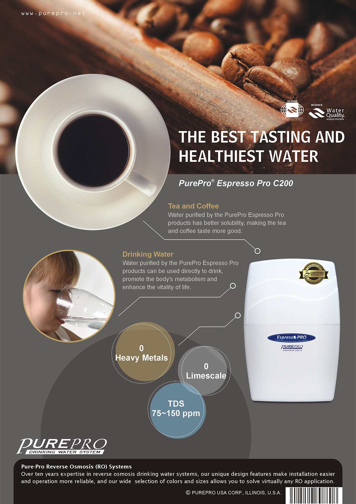 美國 PurePro® C200 RO濾水器- 全新配備具礦物保護技術的新一代逆滲透膜