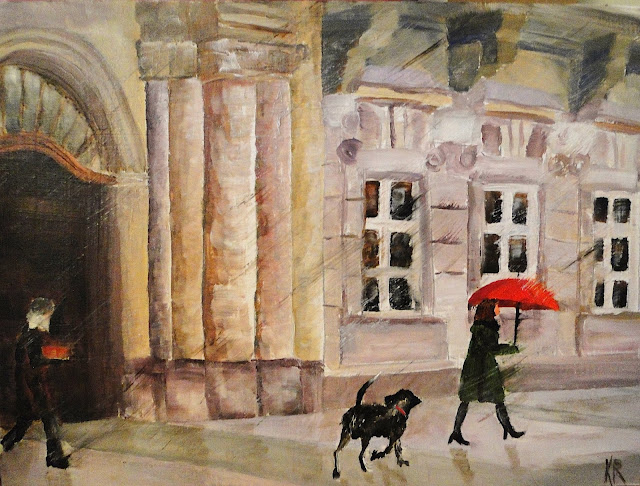 oil painting of woman walking dog with red umbrella in the rain