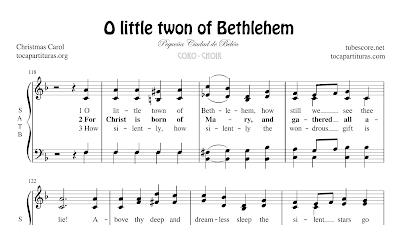 O little town of Bethlehem Partitura de CORO SATB a 4 voces Letra en inglés Pequeña ciudad de Belén
