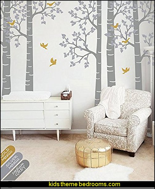 Large Five Birch Trees Nursery Wall Decal Sticker Large Wall Decoration for Nursery Tree with Birds Decal for Kids Room Baby Nursery Decoration Idea with Large Tree Wall Decal, Leaves and Birds Stickers