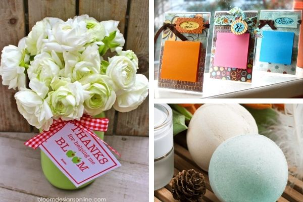 Teacher gift ideas like cute printables to go with flowers, sticky note holders and bath bombs