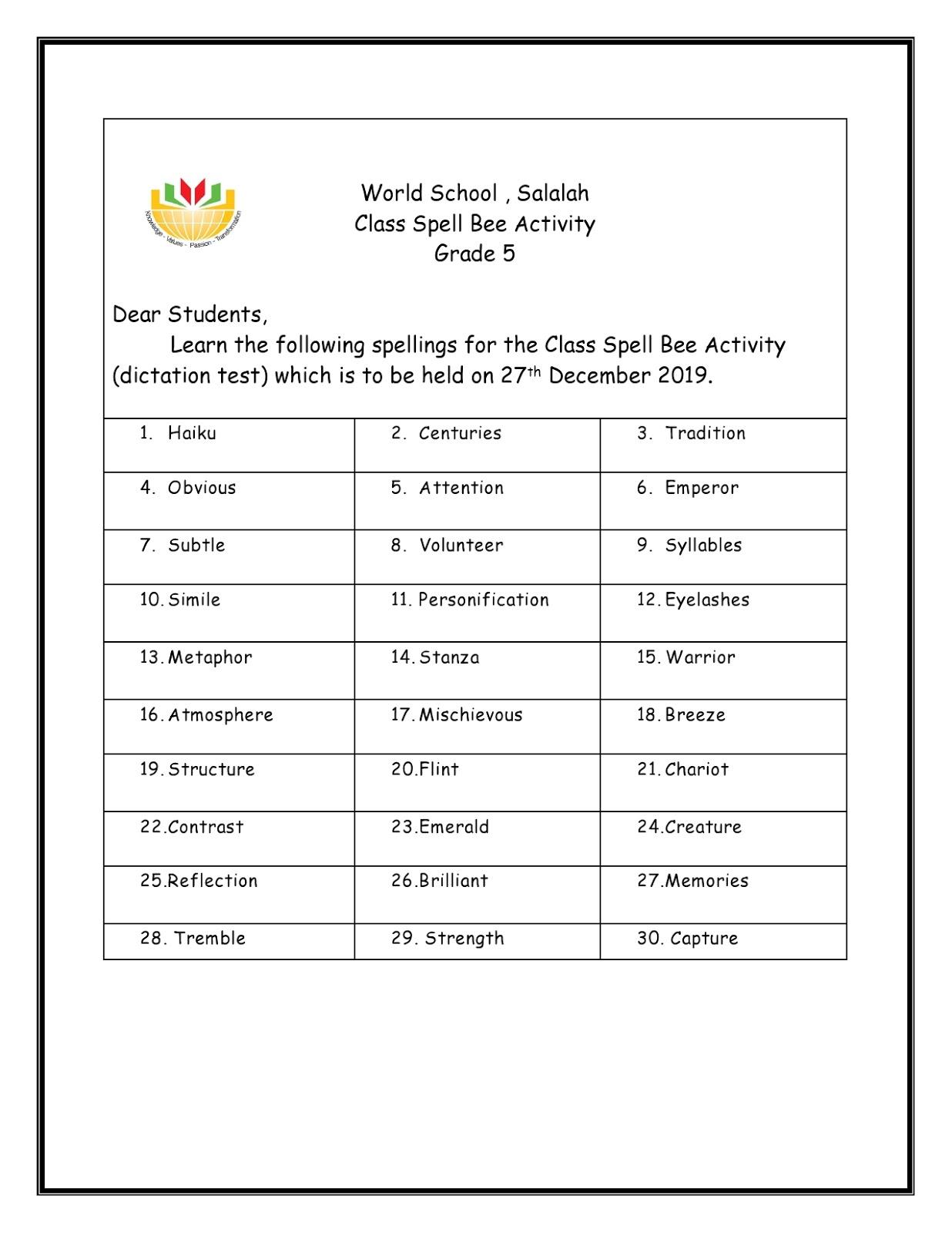 Birla World School Oman Homework For Grade 5 As On 8 12