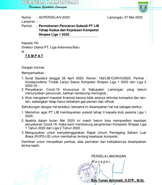 Belasan Klub Pemegang Saham Desak RUPS PT LIB Segera Digelar