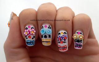Mexican Sugar Skulls Nails