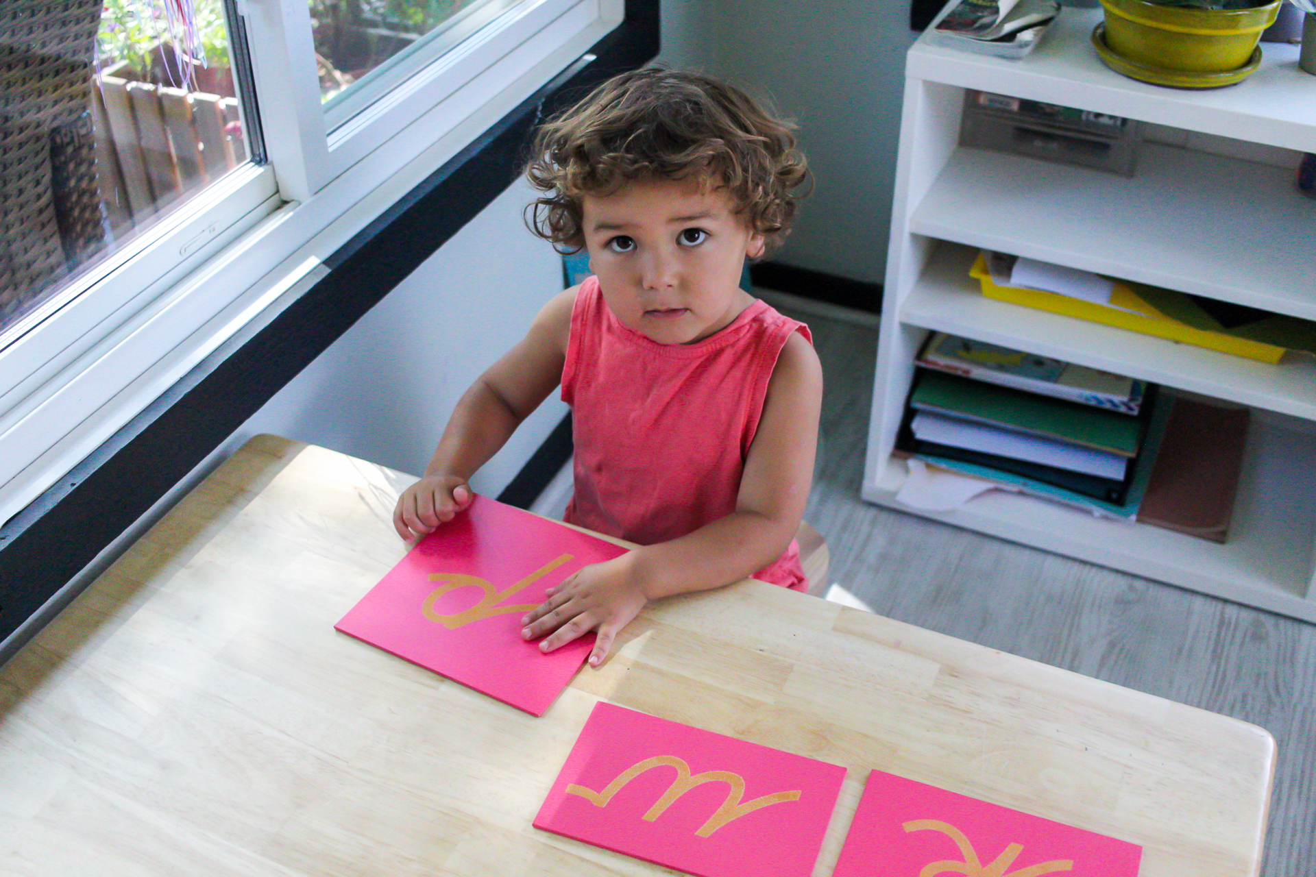The sandpaper letters are a Montessori activity that can help your child learn the alphabet and start to read.