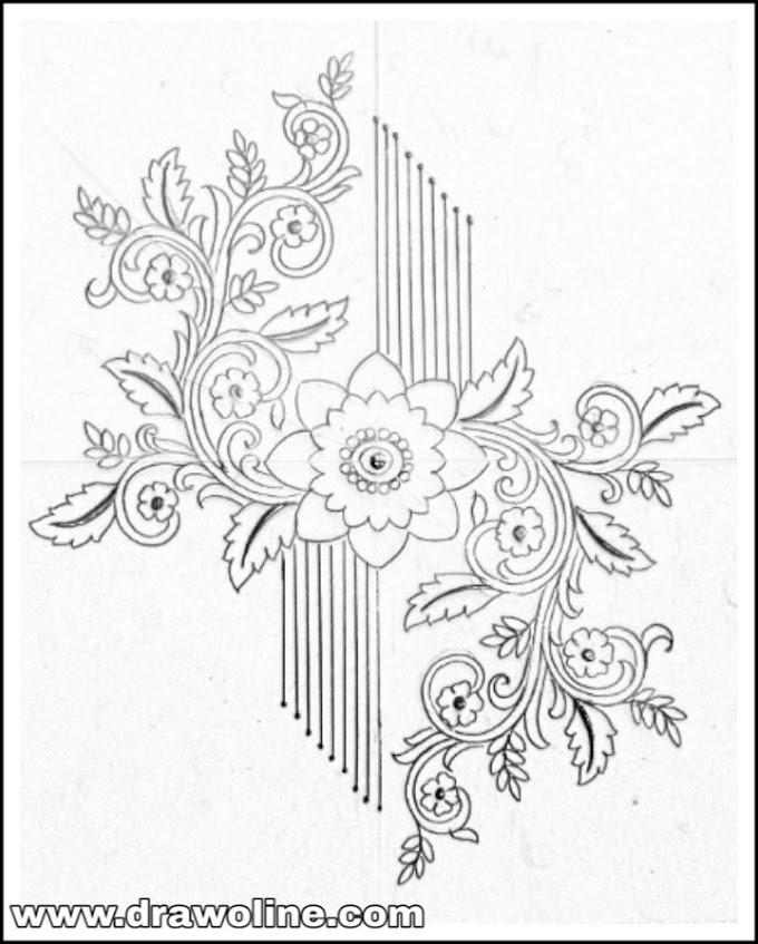 hand embroidery designs motifs pencil sketch/flower design drawing for embroidery motifs/flowers design patterns pencil sketch for embroidery saree