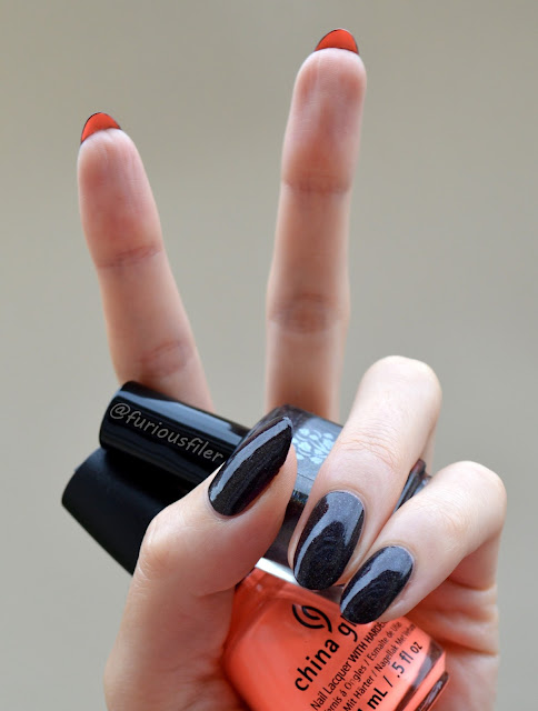 christian louboutin black holographic orange nails undernail