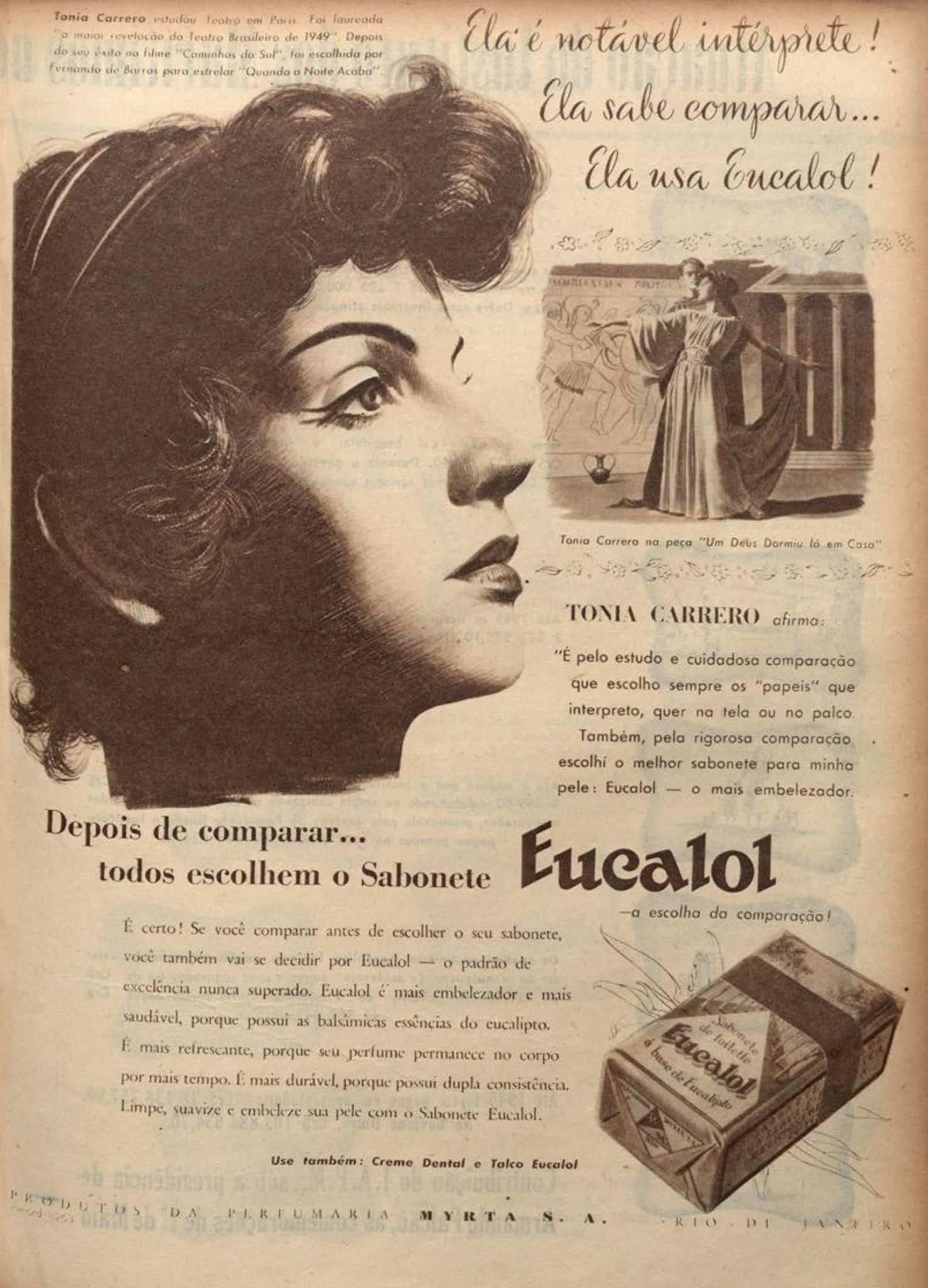 Anúncio antigo do sabonete Eucalol veiculado em 1950 com a atriz Tônica Carrero