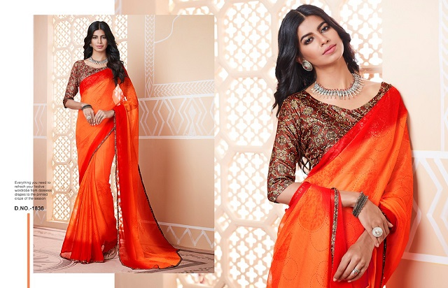 Orange shaded georgette printed sarees with designer blouse