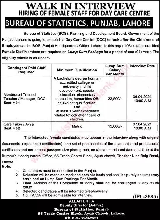 New Jobs in Pakistan Bureau of Statistics Lahore Punjab Jobs 2021| Walk in Interview