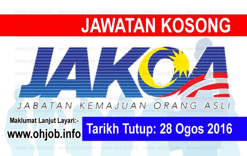 Jawatan Kerja Kosong Jabatan Kemajuan Orang Asli (JAKOA) logo www.ohjob.info ogos 2016