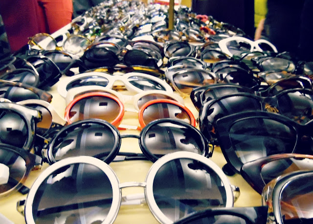 Table of vintage sunglasses at lou lou's vintage fair, Cardiff | ACupofT