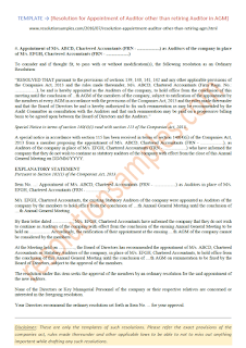resolution for appointment of auditor other than retiring auditor in agm
