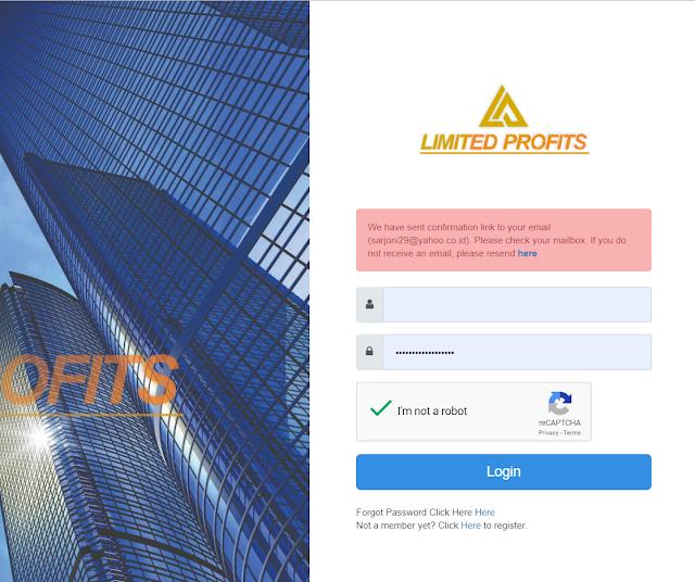 Konfirmasi pendaftaran Limited Profits melalui email