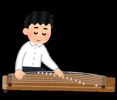 琴を演奏している人のイラスト(男子学生)
