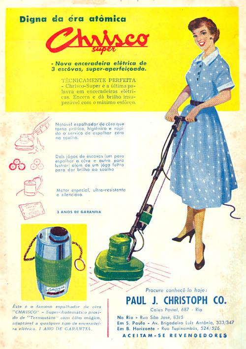 Propaganda antiga da enceradeira elétrica Chrisco Super nos anos 50