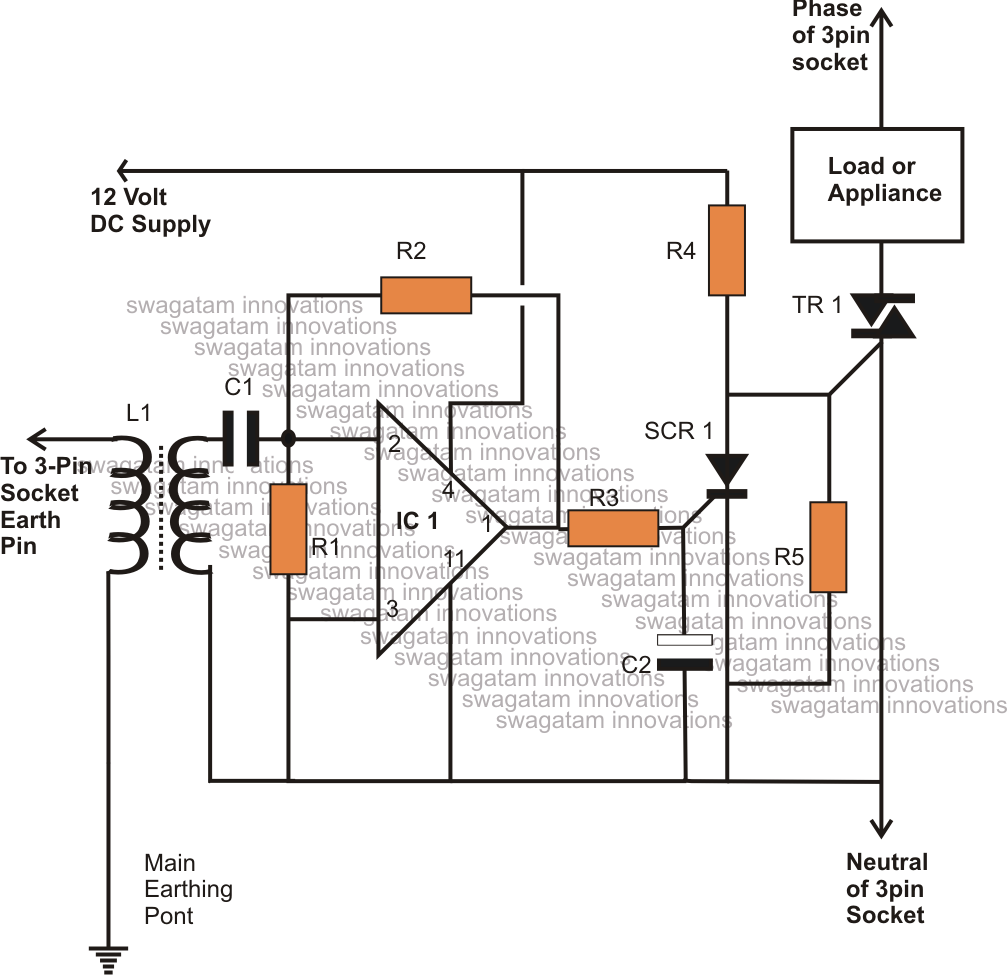 Earth leakage indicator circuit electronic circuit projects - Elcb Circuit Using A Triac