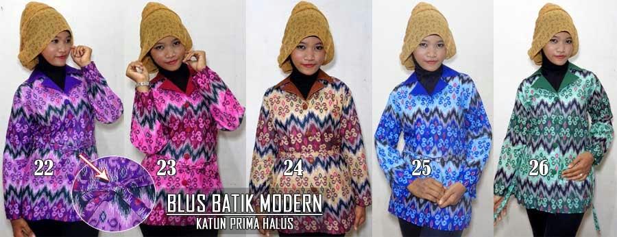 Blus batik modern lengan panjang dan 3/4 murah trendy