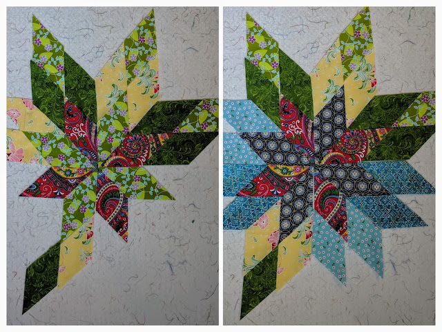 Two collaged photos show two different arrangements of fabrics. On the left the center is red and light green surrounded by darker green and yellow diamonds. On the right the center is dark blue and red surrounded by either the same dark green and yellow or a very light blue.