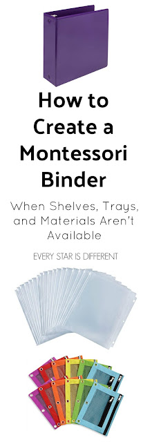 How to Create a Montessori Binder when Shelves, Trays, and Materials Aren't Available