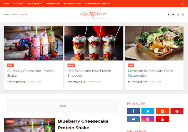 Plate SEO Friendly Blogger Template