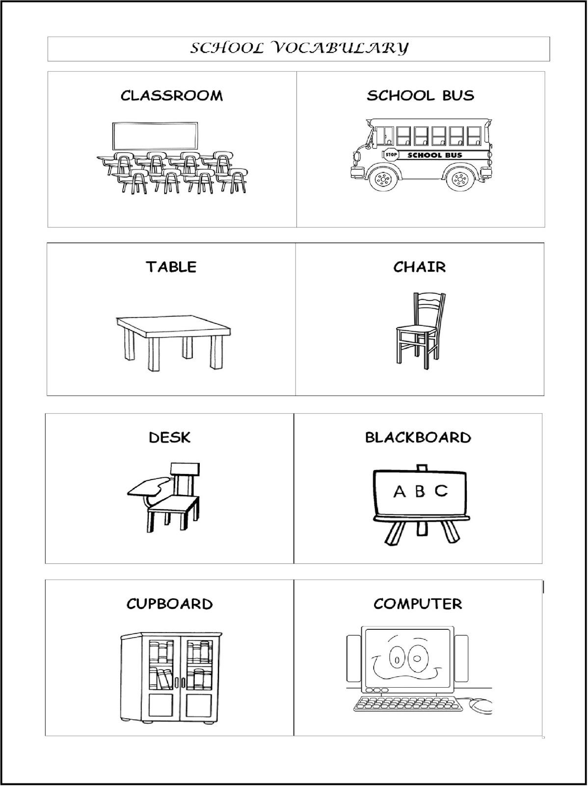 School Vocabulary My Classroom Primer Ciclo 1o Y 2o