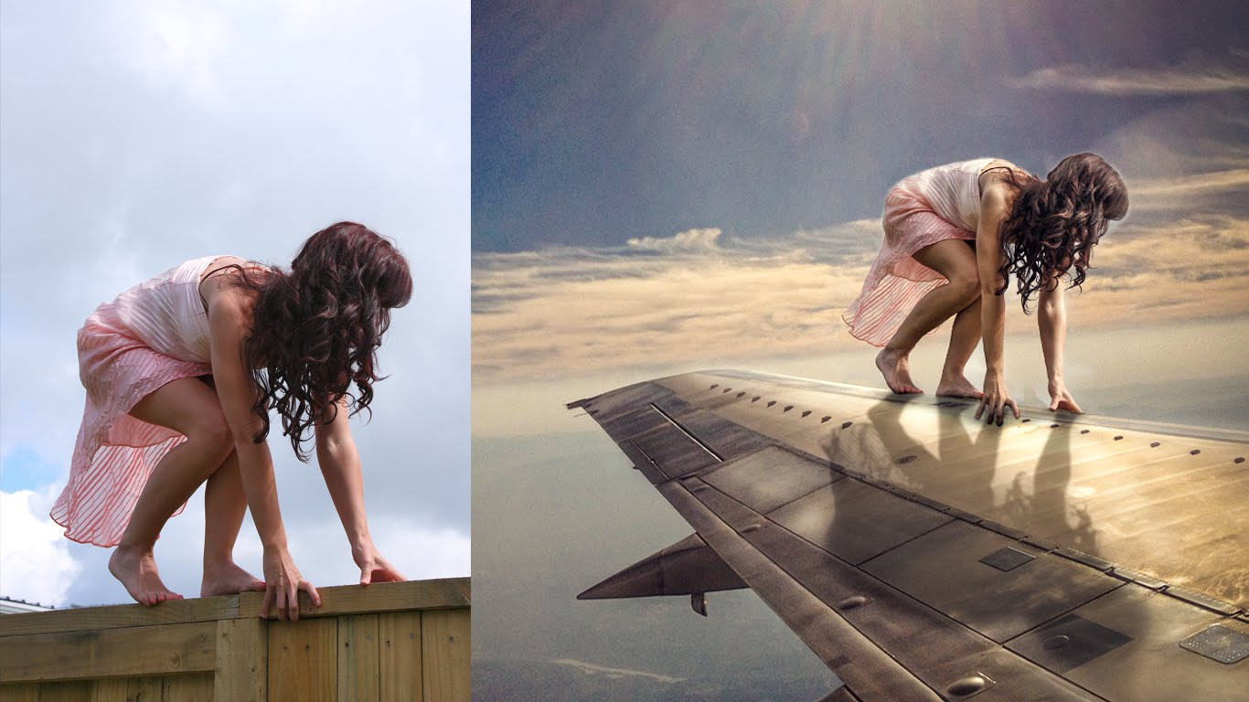 Photoshop Photo Manipulation (Girl on Plane) by Arunz Creation