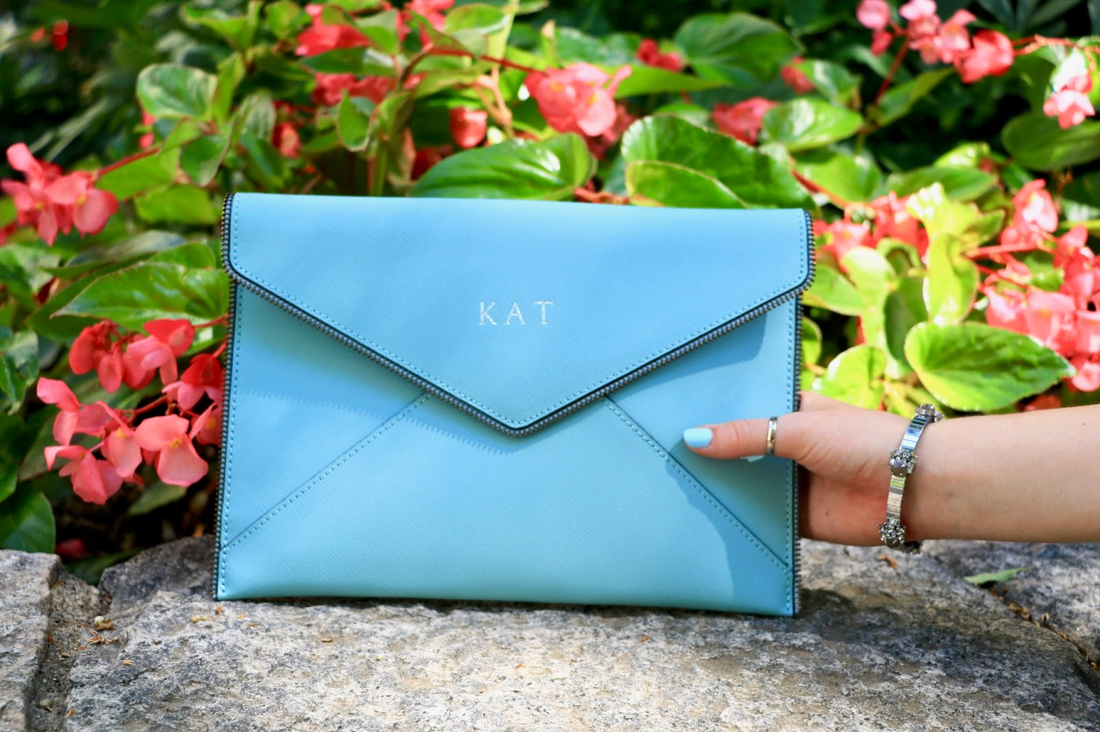 rebecca minkoff light blue envelope clutch