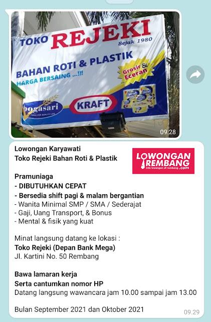 Dibutuhkan Cepat Pramuniaga Toko Rejeki Bahan Roti Dan Plastik Rembang